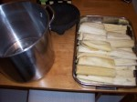 Assembled tamales, ready to cook